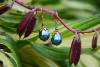 Blue Pearlite, Swarovski Crystal and Vermeil - $40