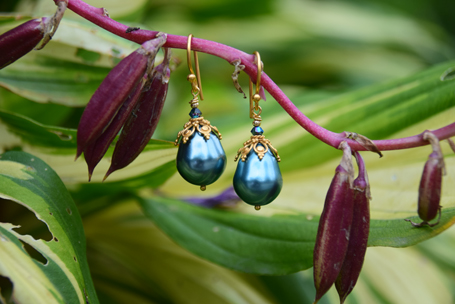 Blue Pearlite, Swarovski Crystal and Vermeil - $40