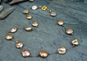 """Gold Coin Pearl, Swarovski Crystal on Silk with Vermeil Clasp 16"""" - $95"""
