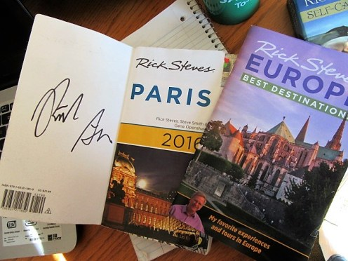 My Rick Steves autograph in one of my most cherished Paris books