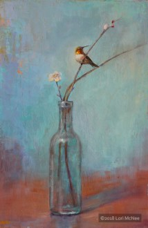 ©2015 Lori McNee Glass Bottle & Hummingbird 18x12 Oil on panel