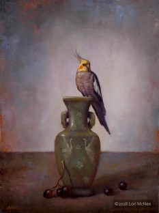 Shades of Gray cockatiel oil painting by Lori McNee