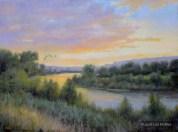 ©2018 Lori McNee Sunset on the Snake 30x40 Oil on canvas