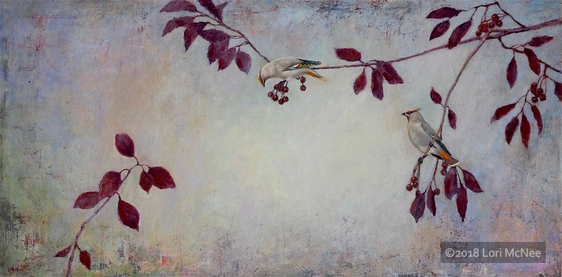 ©2016 Lori McNee Winter Waxwings 24x48 Oil on panel