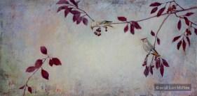 ©2016 Lori McNee Winter Waxwings 24x48 Oil on panel