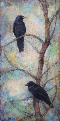 raven encaustic painting by Lori McNee