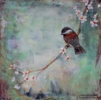 ©2014 Lori McNee Spring Branch Chickadee 12x12 Encaustic