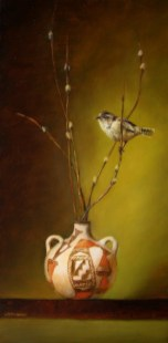 ©2007 Lori McNee Old Acoma Canteen & Wren 24x12 Oil on panel