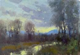 ©2019 Lori McNee Wyoming Sunset 8x6 Oil on oil paper