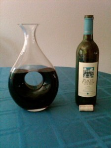 Peachy Canyon 2004 Old School House Zinfandel in the decanter.
