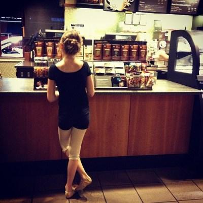 An Everyday Shot:  My Little Ballerina at Starbucks