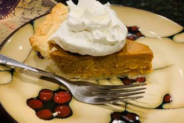 Pumpkin pie with whip topping