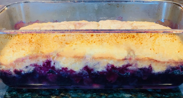 blueberry cobbler in a loaf pan