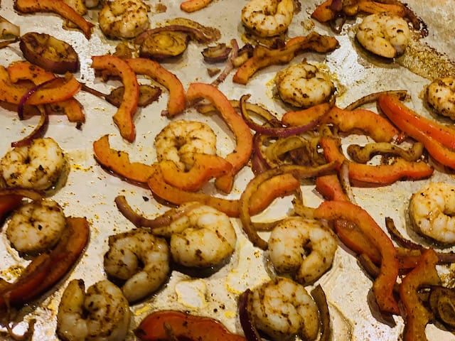 Sheet pan shrimp fajitas after baking