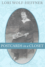 "Cover for ""Postcards in a Closet."" The central image is black and white. A girl from 1917 Hungary is sitting on a chair in a dress modern for her times and is holding a magazine."