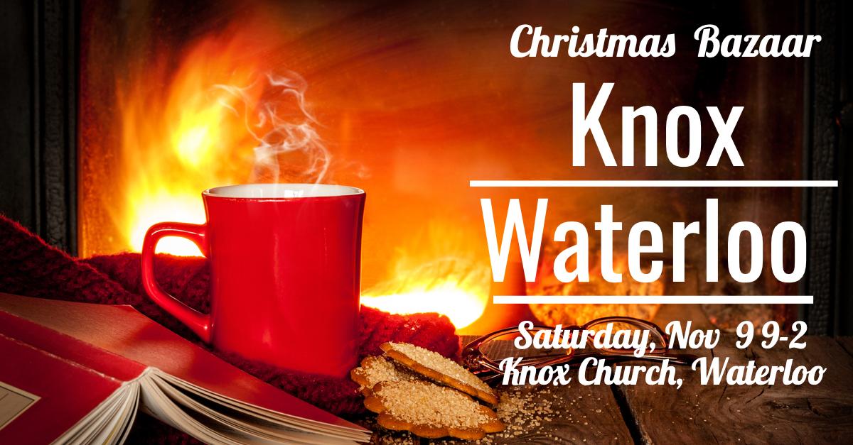 Red mug, roaring fire, information for Knox Waterloo Christmas Bazaar