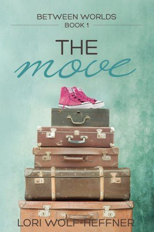 A pile of old suitcases wtih a pair of pink high-tops at the top. The cover for Between Worlds 1: The Move by Lori Wolf-Heffner