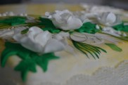 hand painted cake, wedding anniversary cake, pearl anniversary, grean and cream coloured cakes, hand painted cakes, sugar flowers on cake