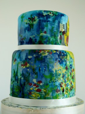 Monet's Lillies wedding cake, painted