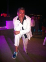 Lorne Cardinal modelling his custom-made Louie Gong shoes at the Osoyoos Celebrity Wine Festival