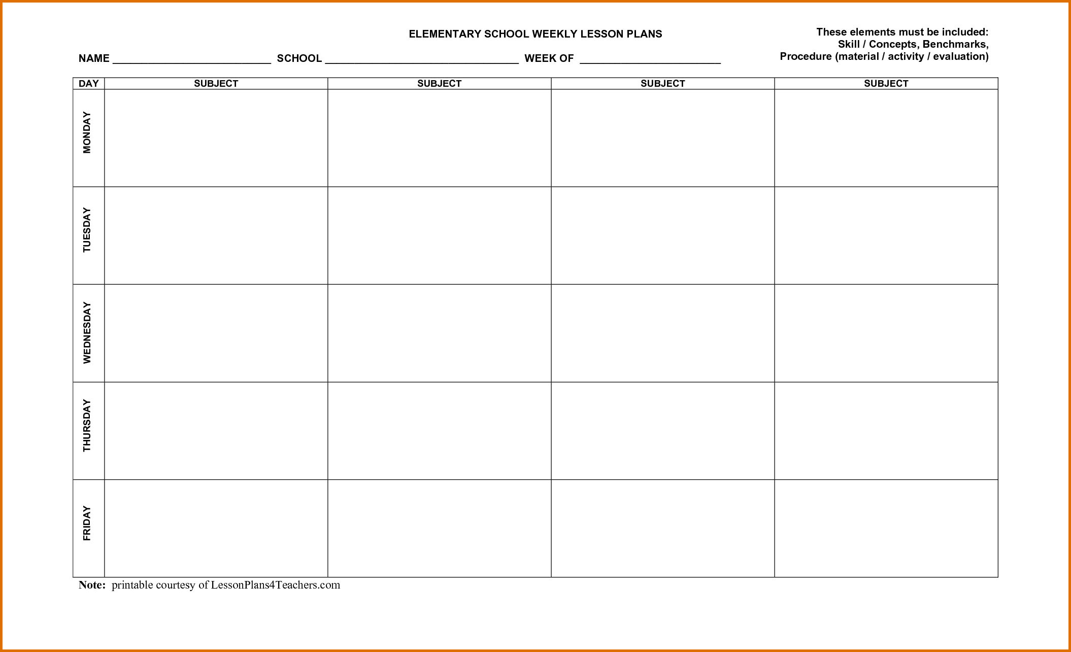 Weekly Lesson Plan Calendar Template