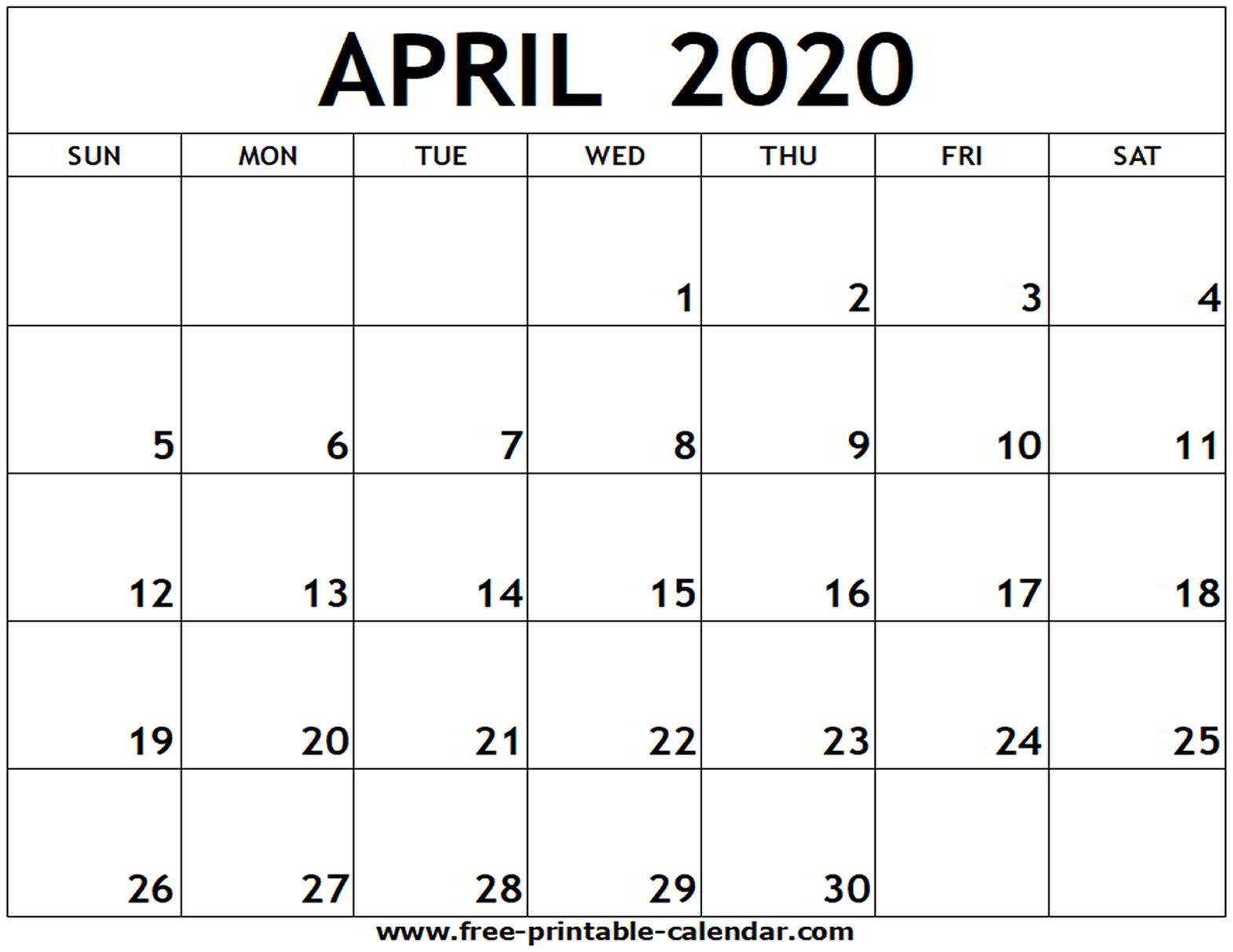 Blank Calendar Worksheet For April