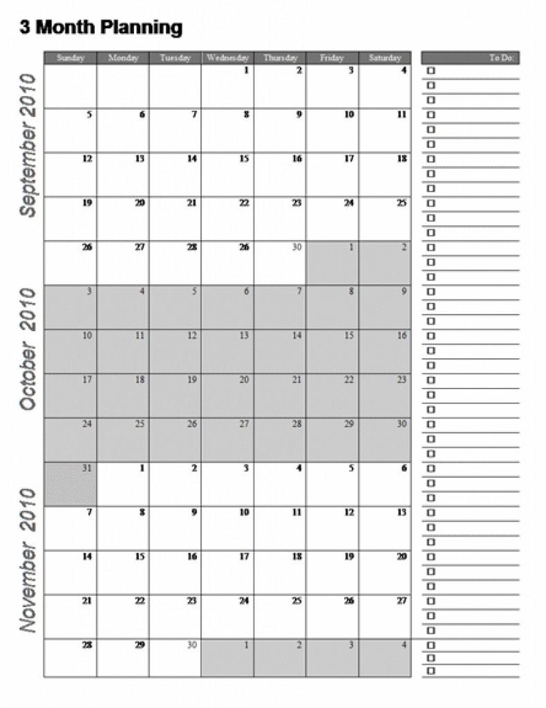 3-Month Planning Calendar Free Template | Example Calendar ...