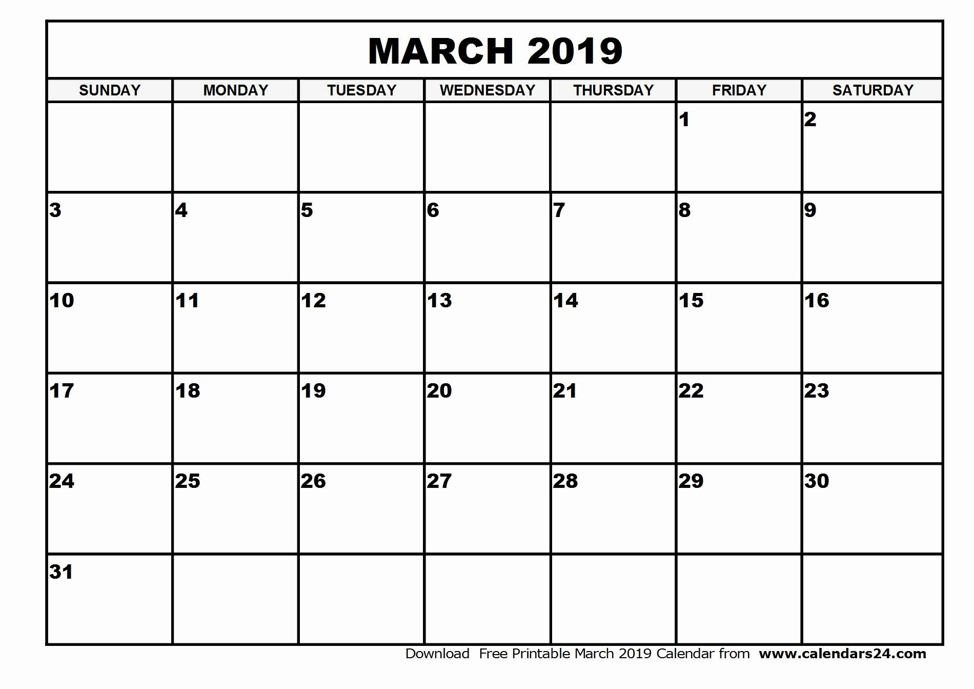 Printable Blank Monthly Calendar Template | Example ...