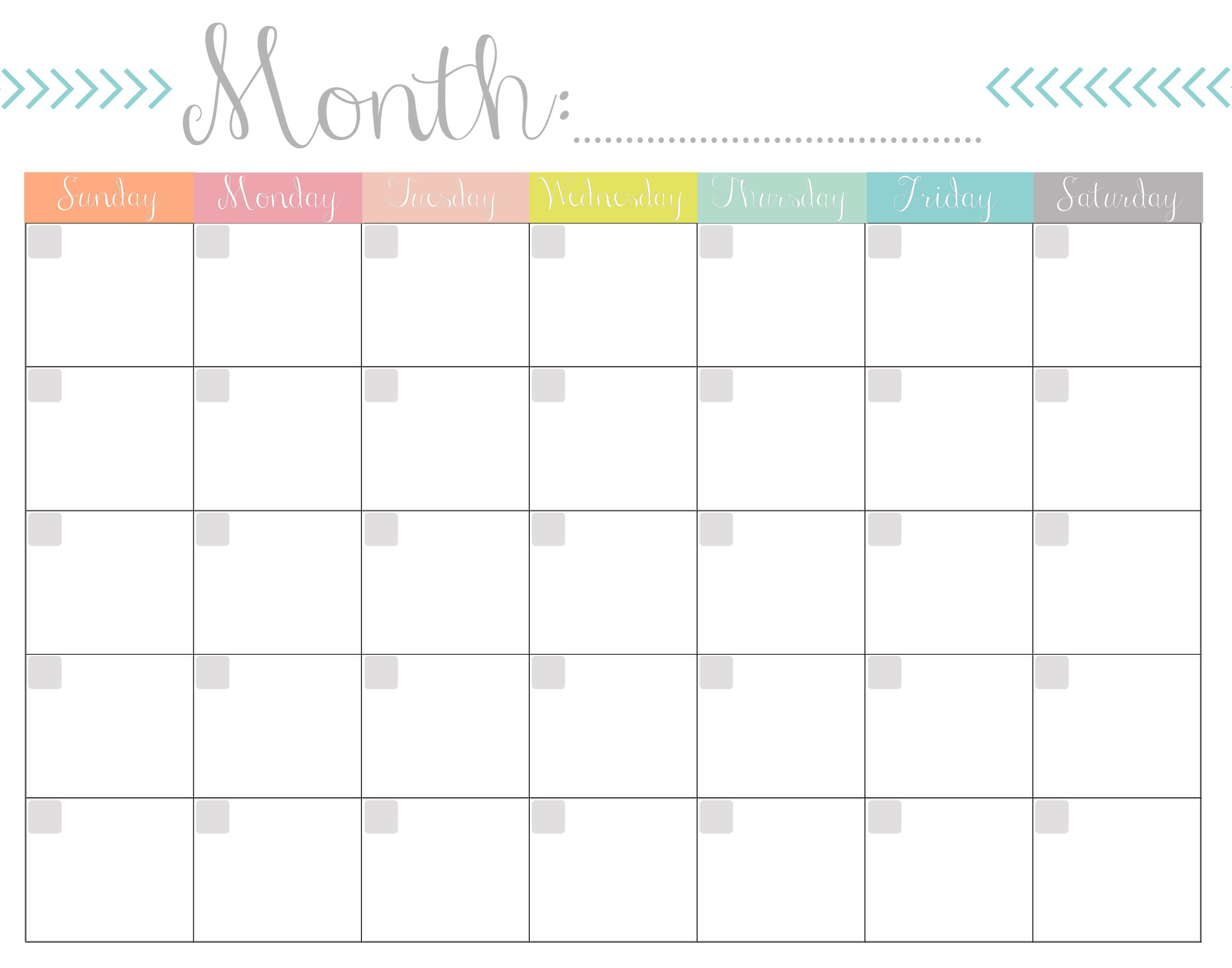 Blank Calendar 2020 Printable Monthly Payday Bills And Due ...
