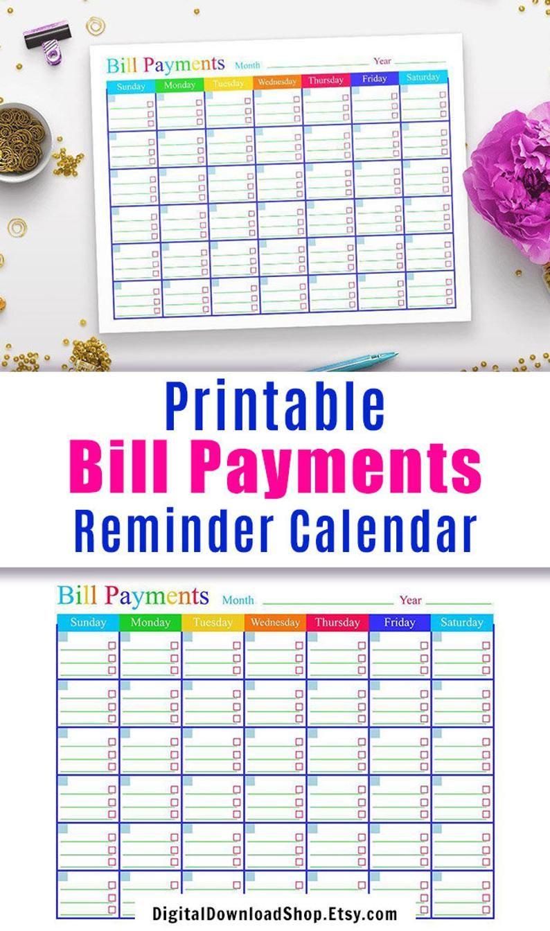 Monthly Bill Calendar Printable   Example Calendar Printable
