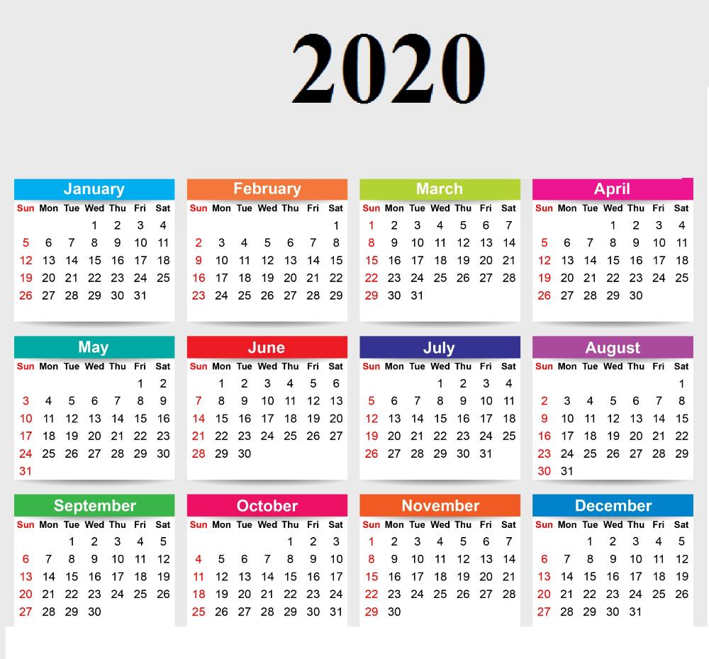 2020 12 Month Single File Calendar Printable Free ...