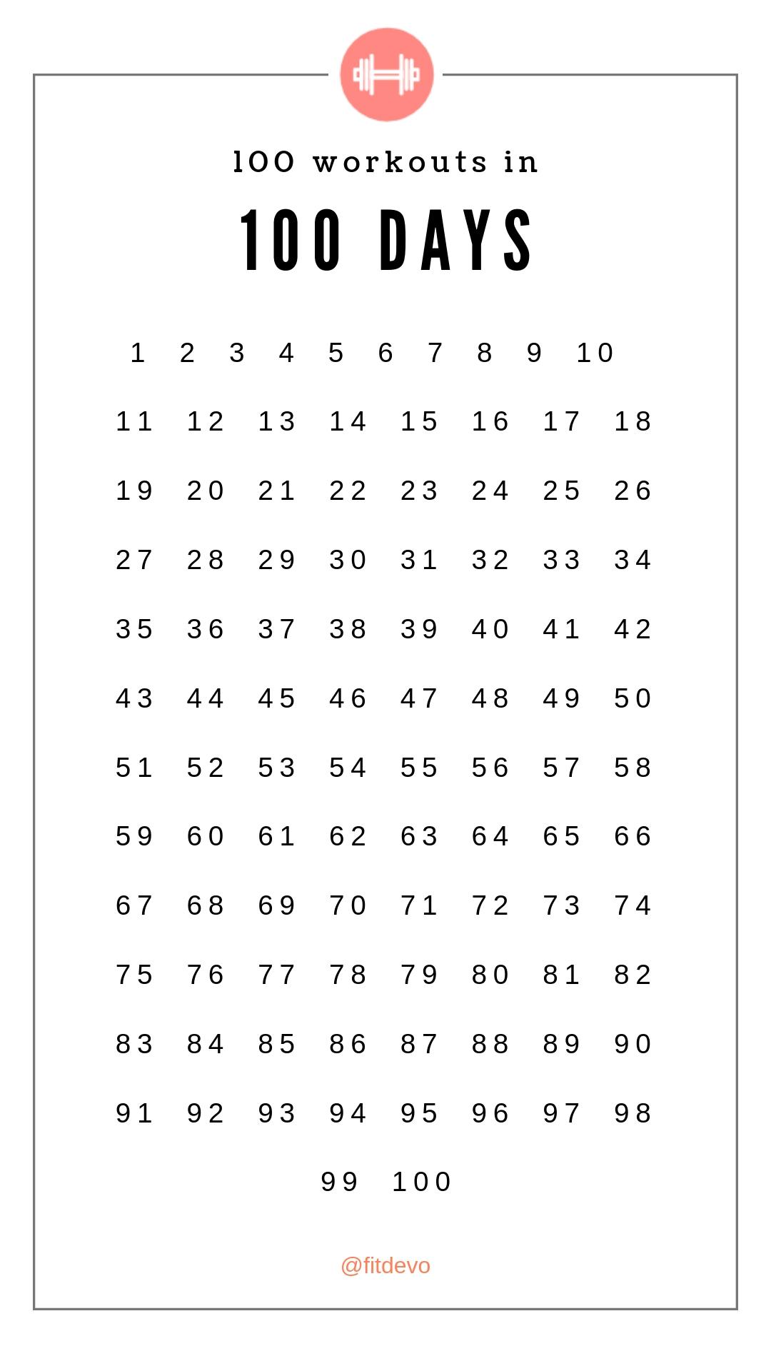 100 Days Printable Calendar