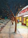 "Koffee Cafe Lorraine Young Sennelier soft pastels on pastel card 9""x12"" $230"