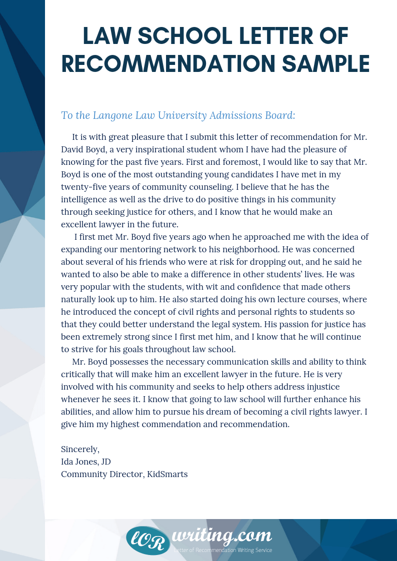 Legal Letter Of Recommendation Professional Law School Letter Of Recommendation Sample