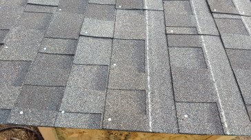 Here you can see what we did when we realized we didn't have enough to cover the roof as the shingles are intended. Instead of matching the shingle with the white line on the previous tile, we spaced them more generously and made it work.