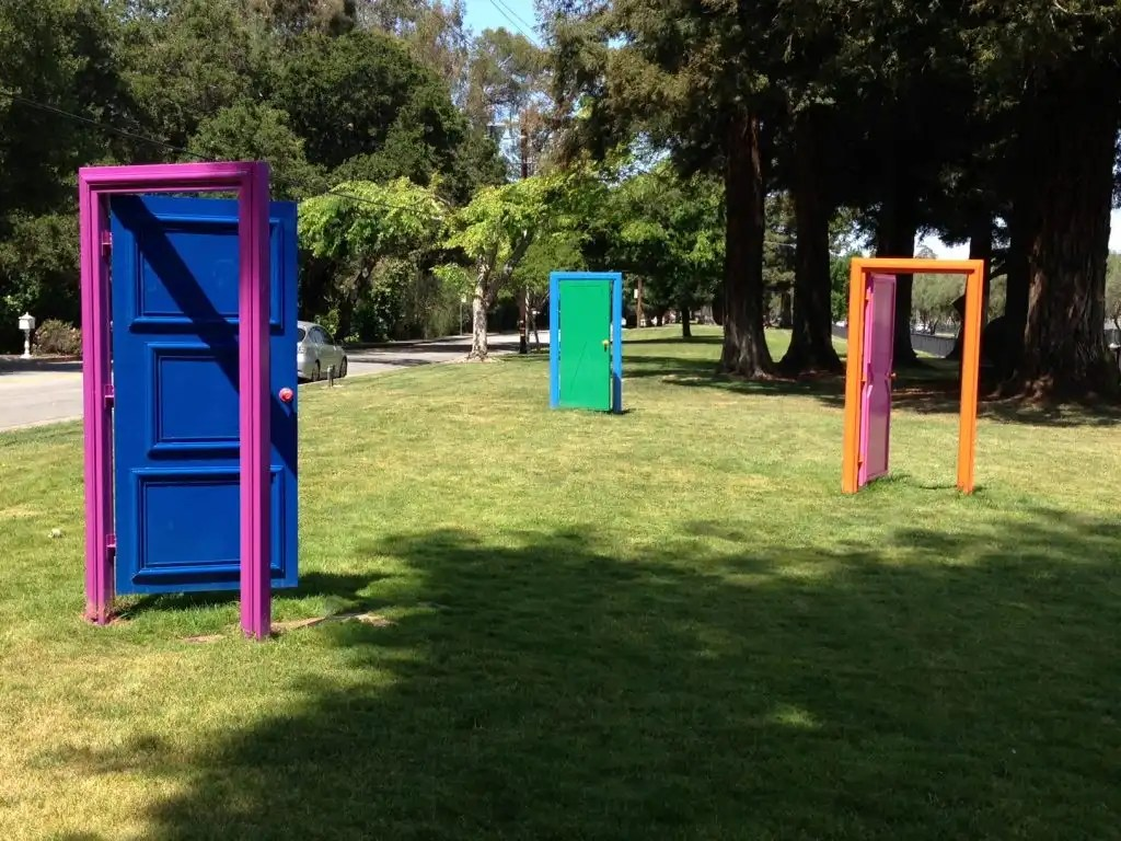 LACF worked with other Los Altos community groups to keep the doors art installation in Los Altos.