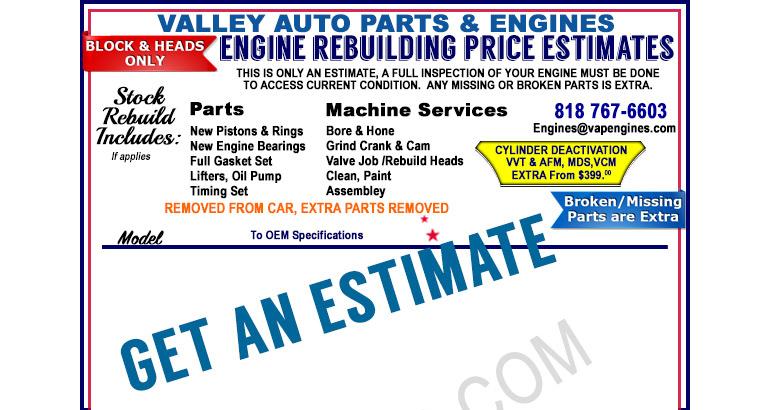 Engine Rebuilding Prices Estimates