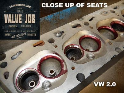 close up of cut seats VW 2.0 valve job