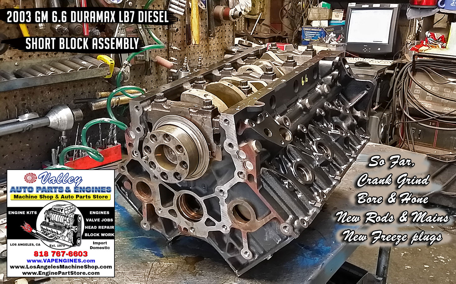 hight resolution of 03 gm 6 6 lb7 duramax 32v v8 remanufactured engine los angeles machine shop engine rebuilder auto parts store