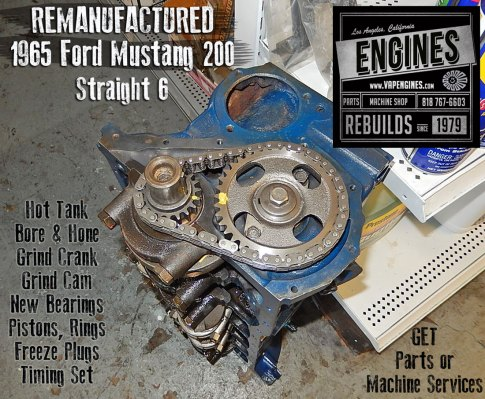 65 Mustang 200 I6 remanufactured short block