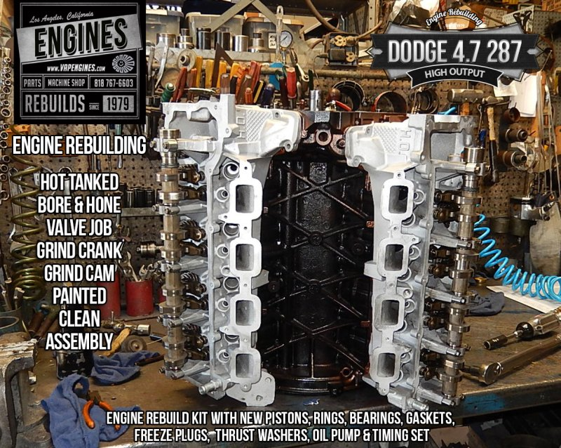 Long block assembly on Dodge 4.7 HO engine