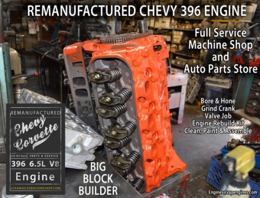 Remanufactured Chevy 396 big block engine