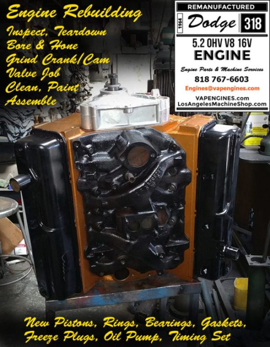 Rebuilt dodge 318 engine completed