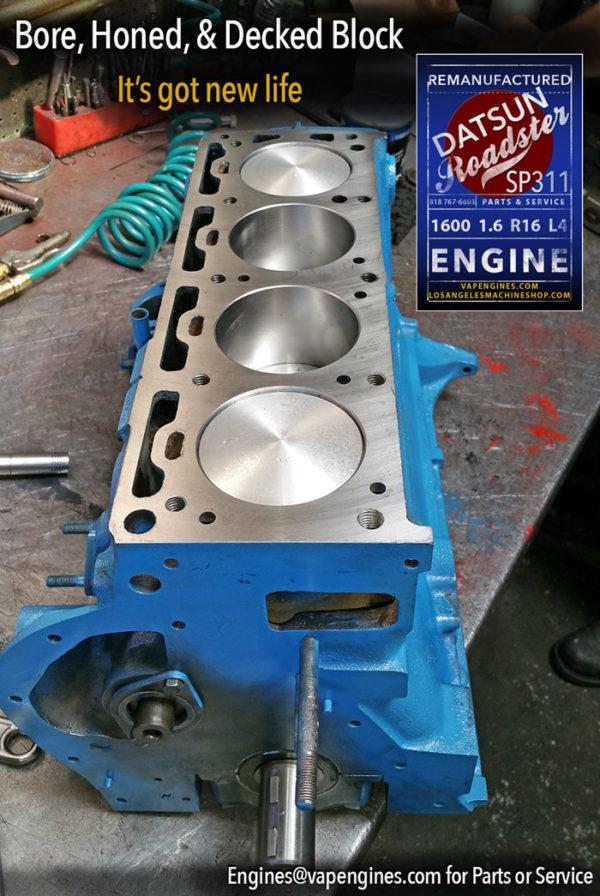 Bore, Honed, Decked Datsun 1600 engine block