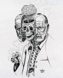 Una rappresentazione artistica di una fotografia di Freud.
