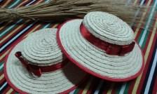 Sombrero artesano de palma trenzada, traje típico La Orotava