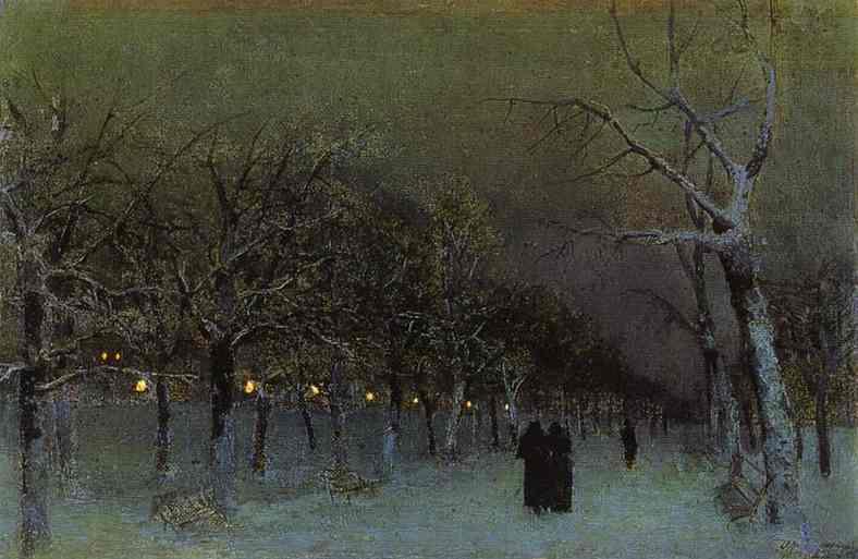 Russian Winter in Arts: Isaac Levitan – A Boulevard at Evening (1883)