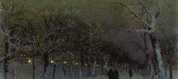 Russian Winter in Arts: Isaac Levitan – A Boulevard at Evening (1883)