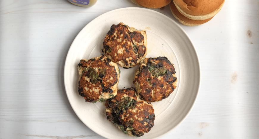 Healthy spinach turkey patties