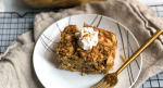 Slice of healthy spiced apple baked oatmeal